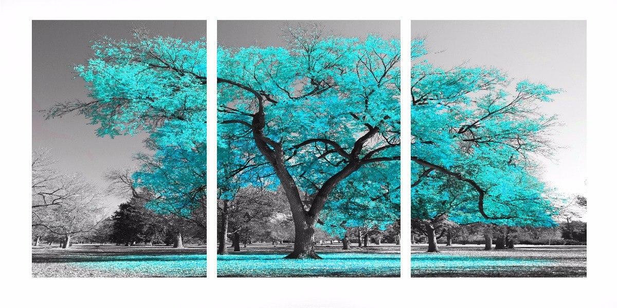 a948fabe62bed quadro decorativo arvore 70x150 - 3 peças azul tiffany. Carregando zoom.