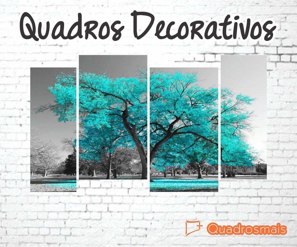 c253f0bb2983c Quadro Decorativo Árvore Azul Turquesa Frete Grátis 190x110 - R  267 ...