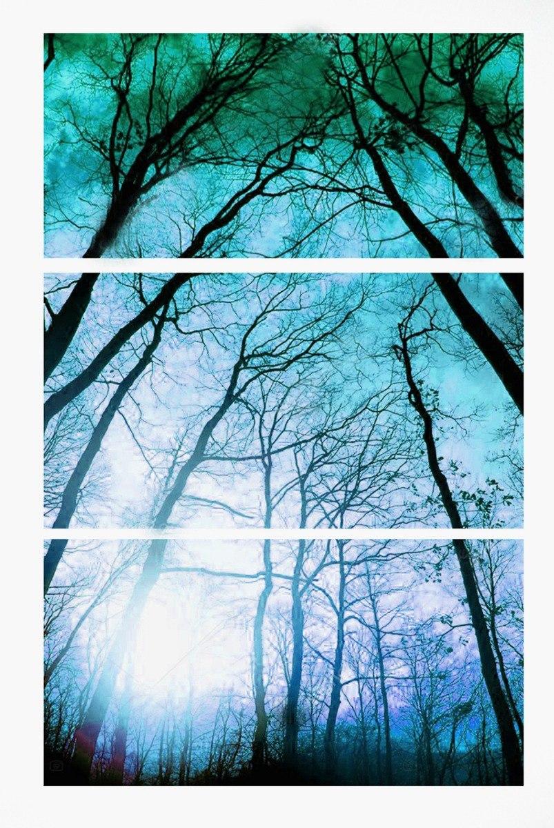 7f9095807e780 quadro decorativo árvore azul vertical 70x150 -3 peças 50x70. Carregando  zoom.