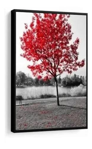 quadro decorativo árvore paisagem vermelha mosaico c moldura