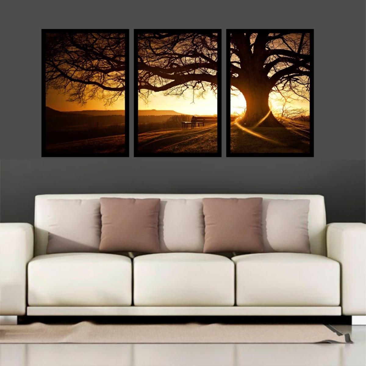 e416a2ddd quadro decorativo árvore por do sol linda sala quarto parque. Carregando  zoom.