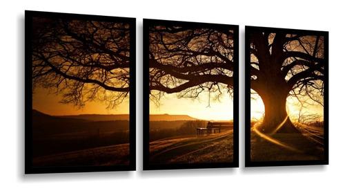quadro decorativo árvore por do sol linda sala quarto parque