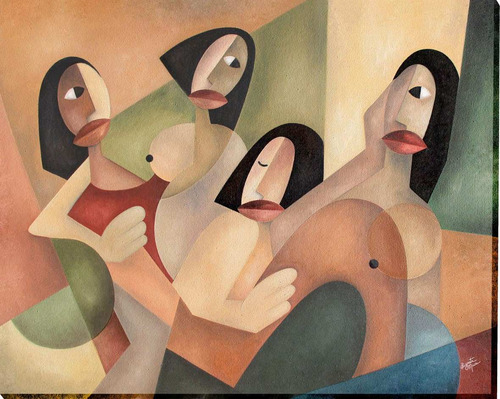 quadro decorativo  as moças de luzinete micai cubismo 100x80