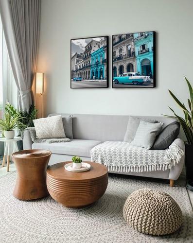 quadro decorativo cidade prédio carro tons azul sala quarto