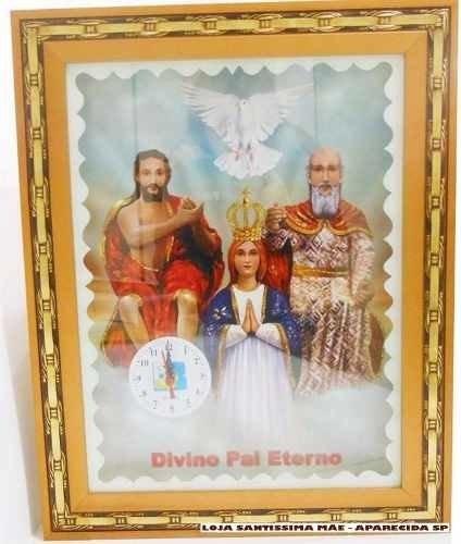 Quadro Decorativo Com Relogio Do Divino Pai Eterno 30x40cm R 73