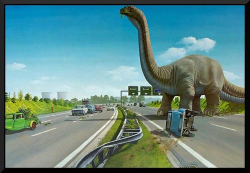 quadro decorativo dinossauro na pista rodovia retro vintage