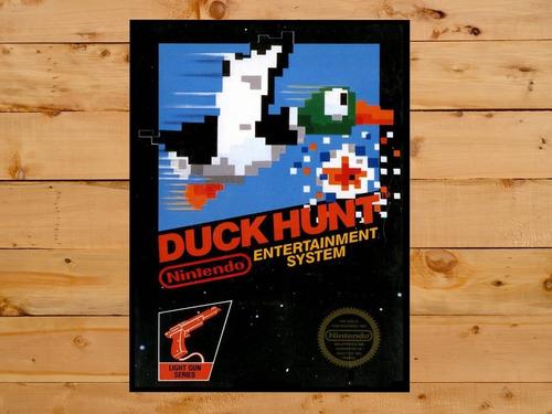 quadro decorativo duck hunt nintendo grande 30x42 cm a3 nes