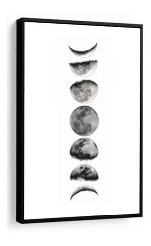quadro decorativo fases da lua preto e branco com moldura