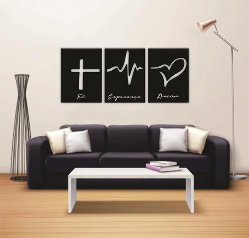 quadro decorativo fé amor esperança 3 pçs em madeira preta