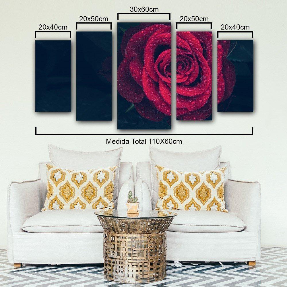 8deb92d9f quadro decorativo flor rosa vermelha 5 peças sala ou quarto. Carregando  zoom.