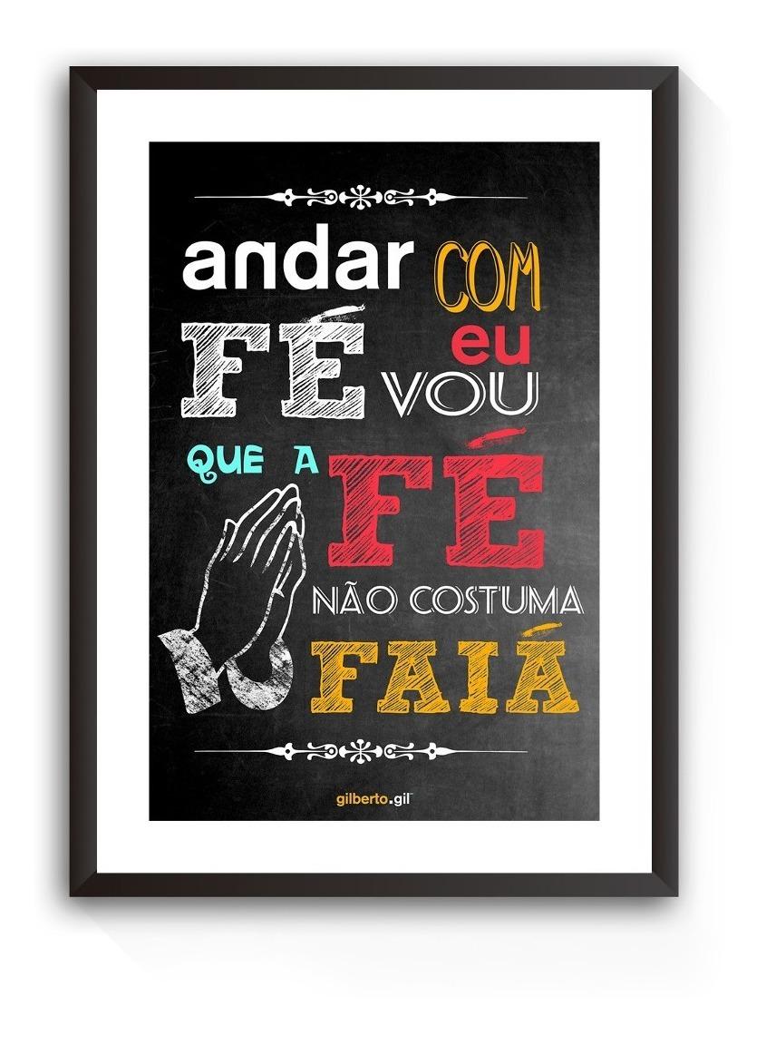 Quadro Decorativo Frase Gilberto Gil Fé Letra Música Mpb