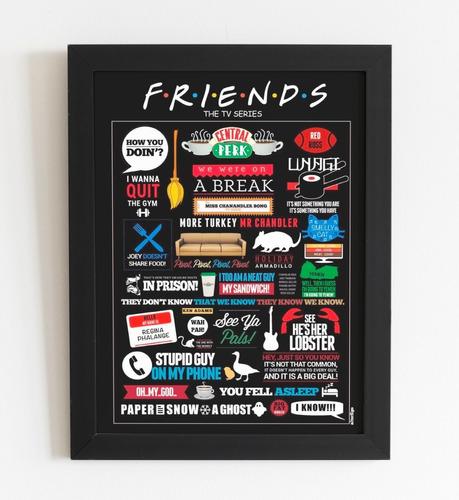quadro decorativo friends tamanho a4 com moldura e vidro
