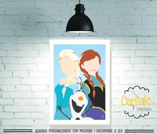 quadro decorativo frozen princesas minimalista- cantaki