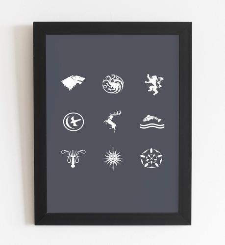 quadro decorativo game of thrones a4 com moldura e vidro