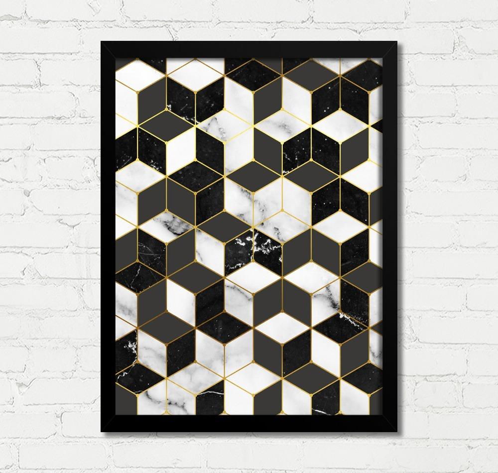 6b09f74ac quadro decorativo geométrico preto branco dourado c. Carregando zoom.