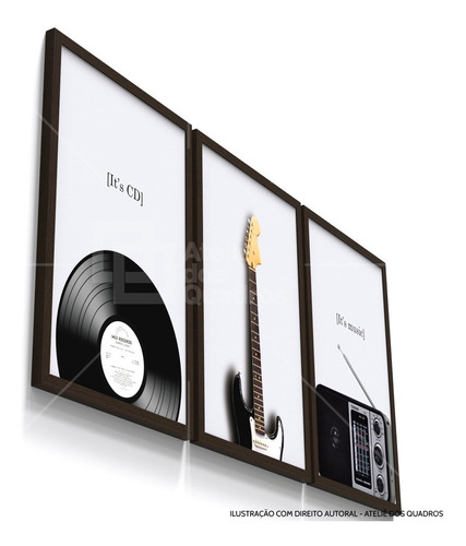 quadro decorativo instrumento musical vintage sala moldura