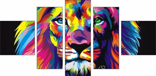 quadro decorativo leão hall sala moderno luxo 126x60cm lindo