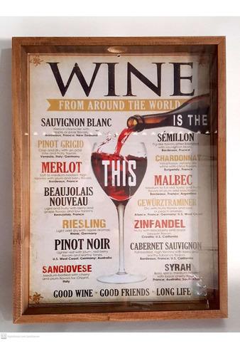 quadro decorativo madeira porta rolhas vinho 40x30cm wine