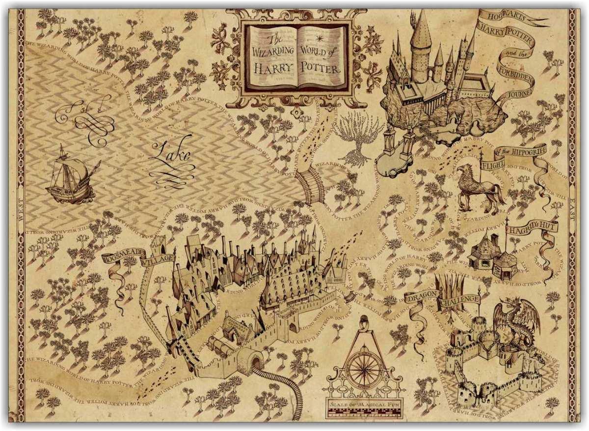 mapa harry potter Quadro Decorativo Mapa Mundo Harry Potter Mapas Decoração   R$ 198  mapa harry potter