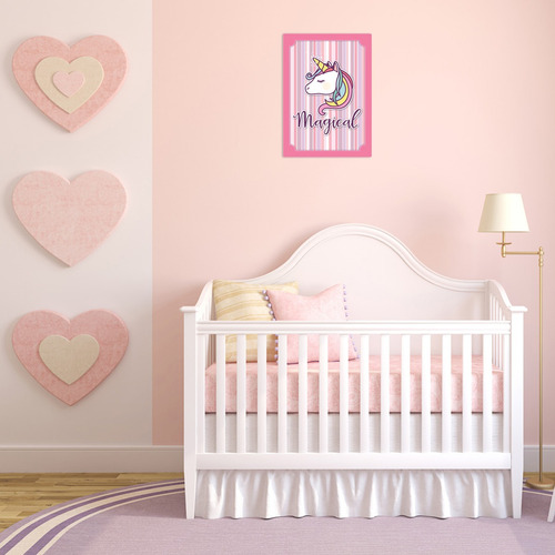 quadro decorativo mdf parede infantil unicornio 3d bebe