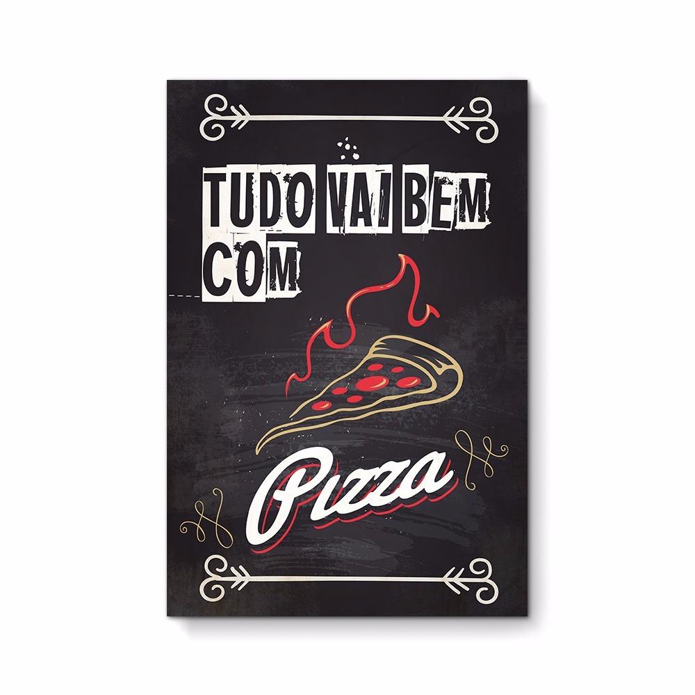 Quadro Decorativo Moldura Caixa Frases Retrô Com Pizza Fr033