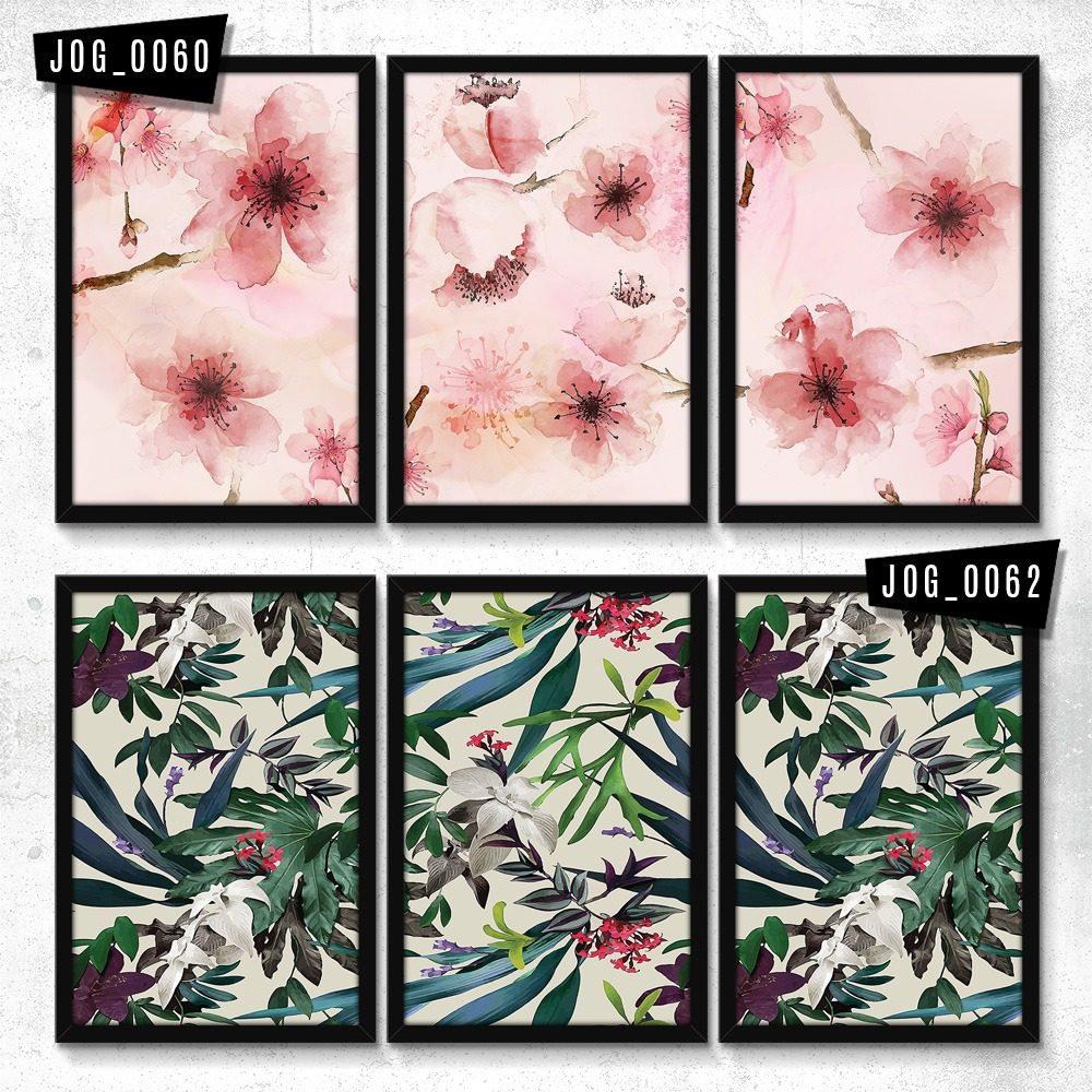 32a25211b quadro decorativo moldura sala jogo 3 peças mundo das flores. Carregando  zoom.
