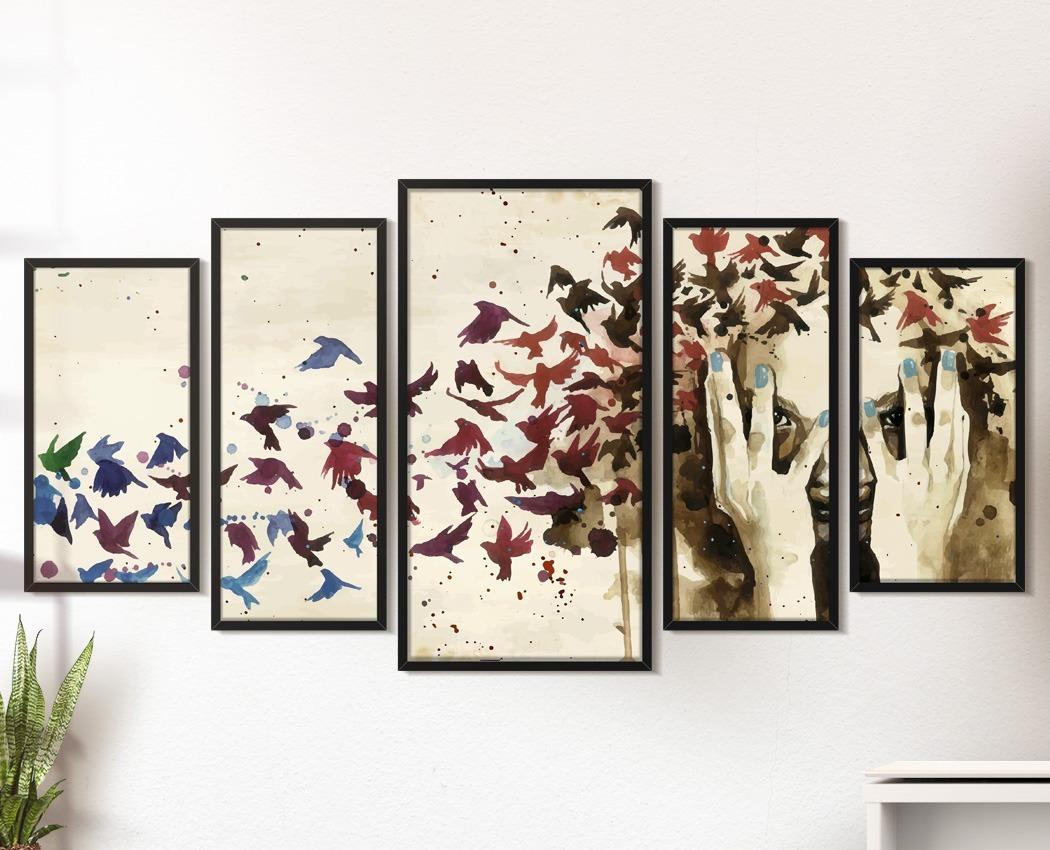 7e3a400c6 quadro decorativo moldura sala quarto pássaros abstratos. Carregando zoom.