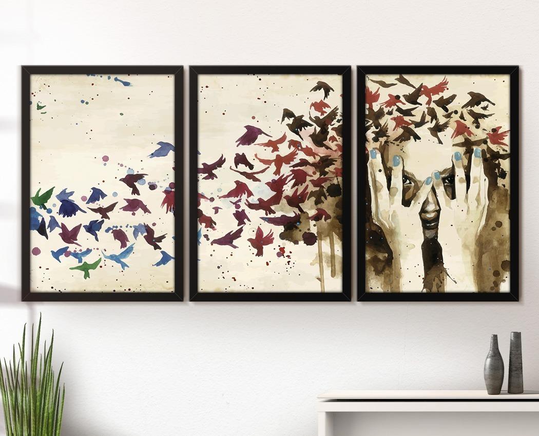 0f82e6cf2 quadro decorativo moldura vidro sala jogo 3 peças pássaros. Carregando zoom.