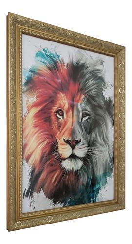 quadro decorativo mosaico leão colorido moldura clássica
