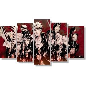 Quadro Decorativo Naruto-akatsuki Membros 115x60 5 Peças