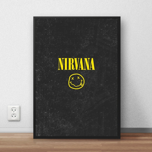 quadro decorativo nirvana com moldura premium