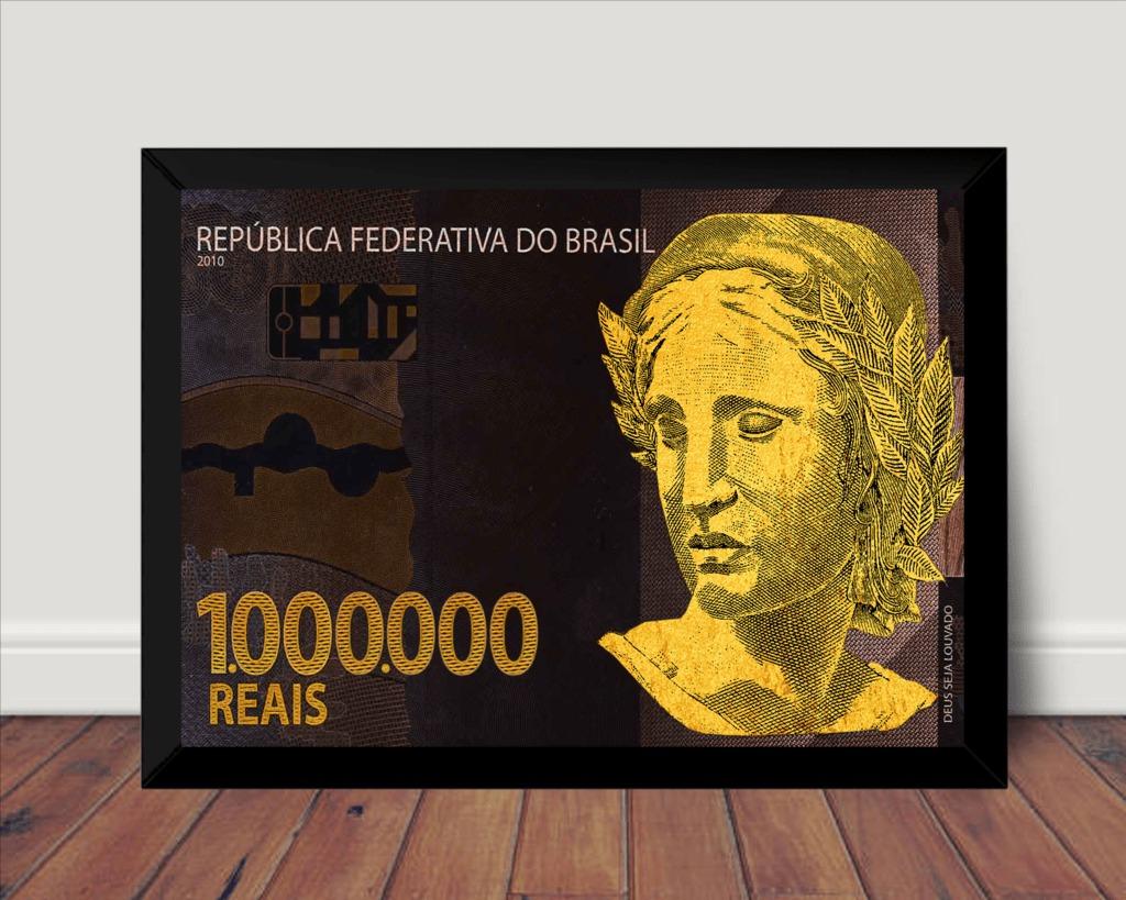 d7aee584b quadro decorativo nota de 1 milhão de reais 42x29cm. Carregando zoom.