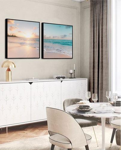 quadro decorativo paisagem mar pôr do sol praia sala quarto