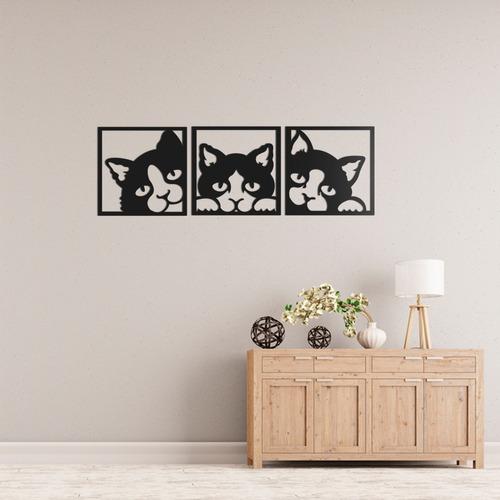 quadro decorativo parede animal trio gatos 60cm