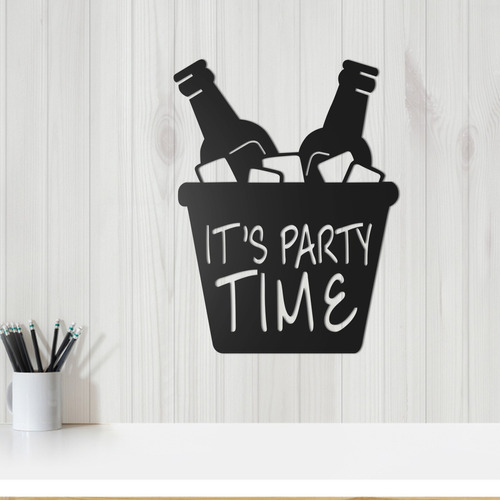quadro decorativo parede bar it's time party 30cm