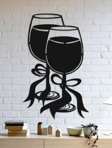 quadro decorativo parede bar taças 90cm