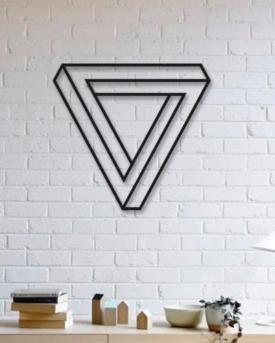 quadro decorativo parede escultura placa triangulo 60cm