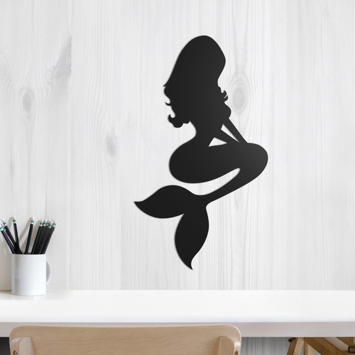 quadro decorativo parede infantil pequena sereia 30cm