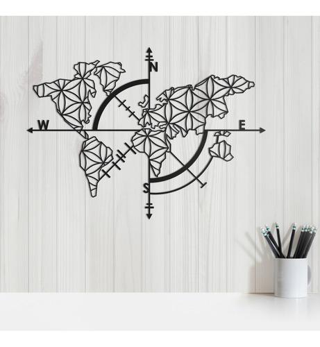quadro decorativo parede mapas bússola flor da vida 30cm