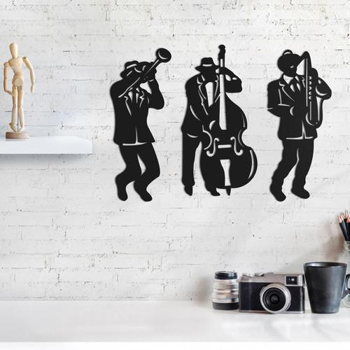 quadro decorativo parede música jazz banda 30cm
