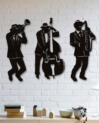 quadro decorativo parede música jazz banda 60cm