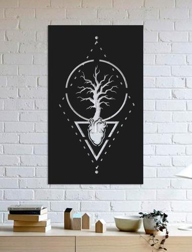 quadro decorativo parede natureza árvore coração 60cm