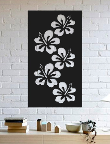 quadro decorativo parede painel flor hawaiana 90cm