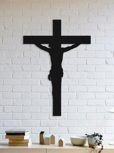quadro decorativo parede religião jesus na cruz 01 90cm