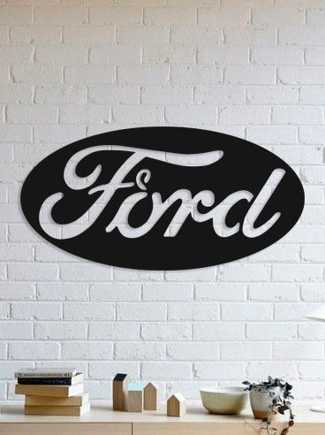 quadro decorativo parede veículos ford logo 02 90cm