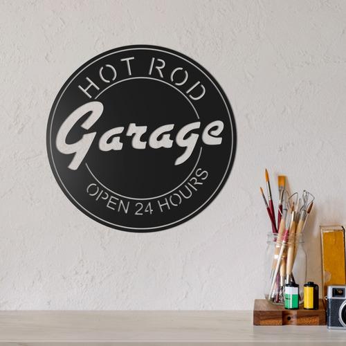 quadro decorativo parede veículos hot road garage placa 30cm