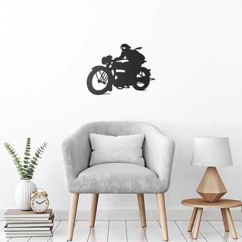 quadro decorativo parede veículos motoqueiro 60cm