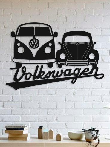 quadro decorativo parede veículos vw fusca e kombi 90cm