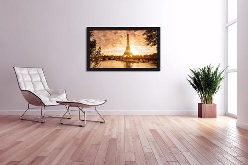 quadro decorativo paris barcos torre eiffel - 100x60cm