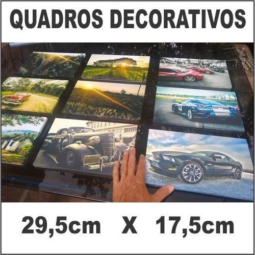 quadro decorativo pequeno 29,5cm x 17,5cm paisagem, carros